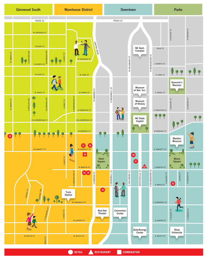 Downtown Raleigh Map // Shopping in the Design District, Raleigh NC
